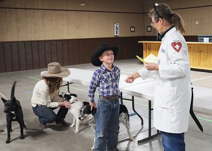 Williams Animal Action Group (W.A.A.G) president Kali Kaliche greets a young guest to the 34th annual rabies vaccination clinic April 6. (Loretta Yerian/WGCN)