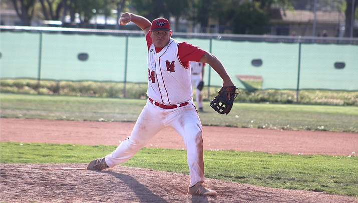 Lee Williams senior Mike Bathauer yielded just two hits with 12 strikeouts and two walks in a 10-0 victory over Mohave Tuesday at Dick Grounds Field. (Photo by Beau Bearden/Daily Miner)