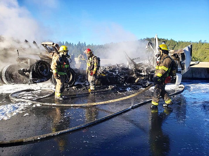 Ponderosa Fire District respond to a motor vehicle accident/semitruck fire April 7. (Photos courtesy of Ponderosa Fire Facebook)