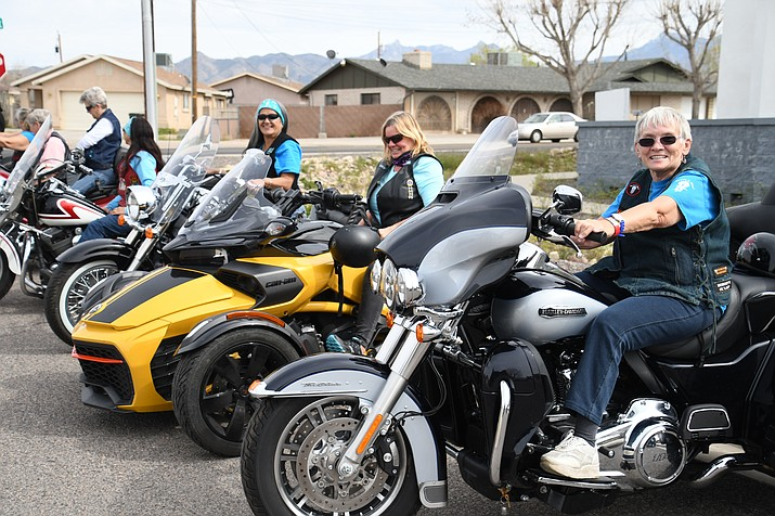 """Sharon """"Triker"""" McGraw of the Cactus Cuties prepares to hit the road with the rest of the group. The Cactus Cuties are helping pick up a national baton as part of a ripple relay Wednesday, April 10 at Mother Road Harley Davidson. (Photo by Vanessa Espinoza/Daily Miner)"""