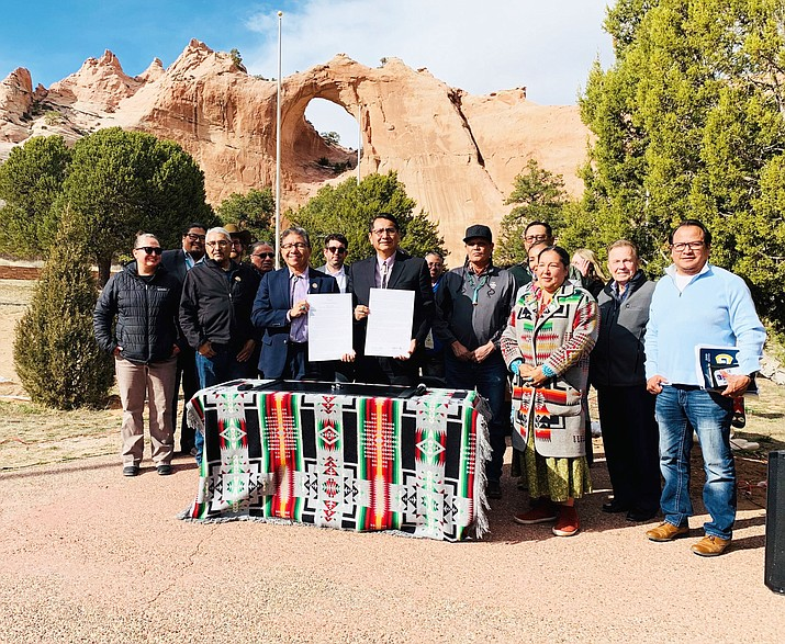 Navajo Nation President Jonathan Nez and Vice President Myron Lizer issed a proclomation April 2 stating the Navajo Nation will pursue and prioritize clean renewable energy development for the long-term benefit of the Navajo people. (Photo/Navajo Nation Office of the President and Vice President)