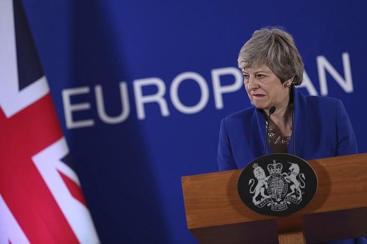 British Prime Minister Theresa May speaks during a media conference at the conclusion of an EU summit in Brussels, Thursday, April 11, 2019. European Union leaders on Thursday offered Britain an extension to Brexit that would allow the country to delay its EU departure date until Oct. 31. (Francisco Seco/AP)