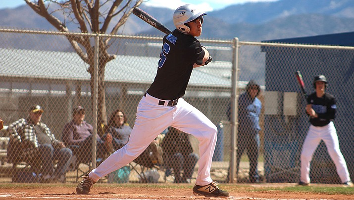 Kingman Academy's Kaden Bean went 4-for-4 with three RBIs at the plate Tuesday and also struck out five on the mound as the Tigers cruised to a 13-3 win in Game 1 of a doubleheader at Page. (Daily Miner file photo)