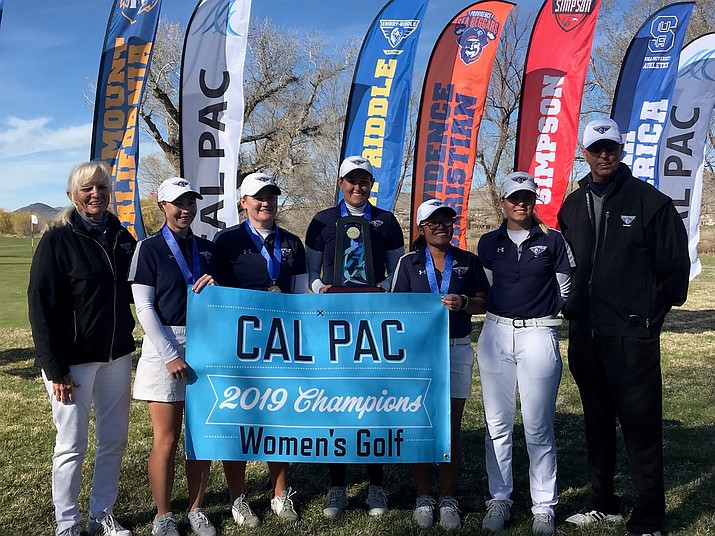 Embry-Riddle women's golf celebrates its first-place win at the Cal Pac Championship at RedHawk Golf & Resort in Sparks, Nev., on Wednesday. (Courtesy)
