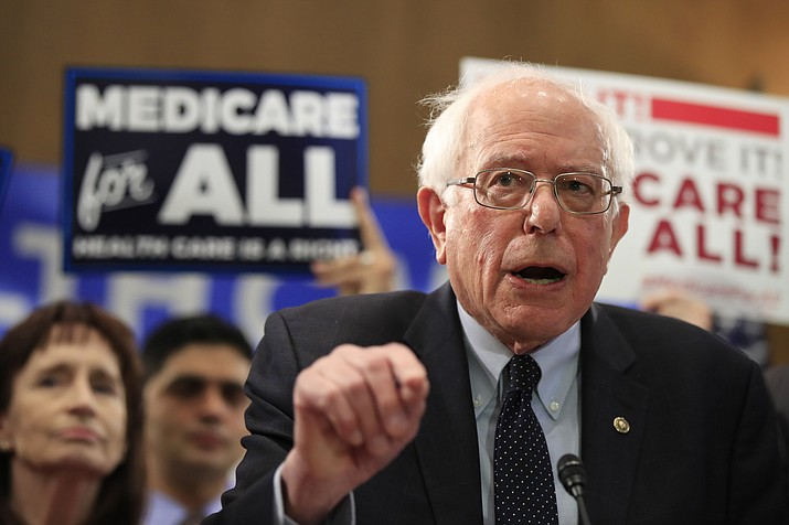 Sen. Bernie Sanders, I-Vt., introduces the Medicare for All Act of 2019, on Capitol Hill in Washington, Wednesday, April 10, 2019. (Manuel Balce Ceneta/AP)