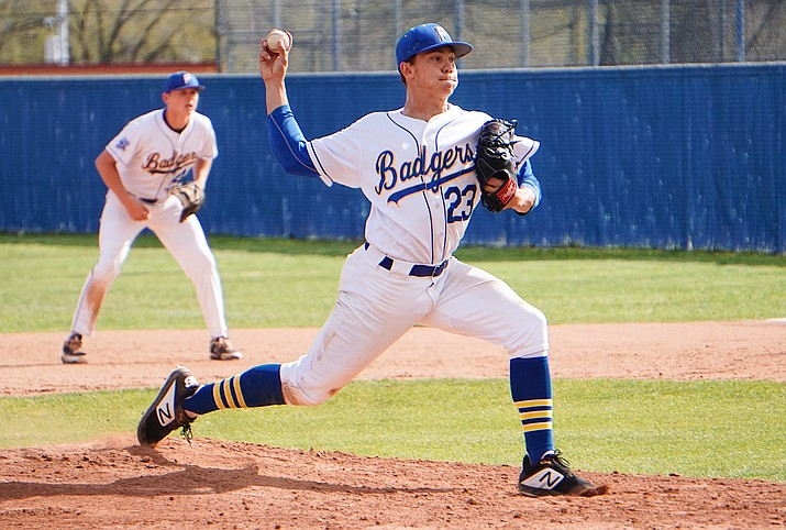 Prescott's Jake Schulz tosses a fastball in the Badgers' 10-3 win over Bradshaw Mountain on Thursday, April 11, 2019, at Prescott High School. (Aaron Valdez/Courier)