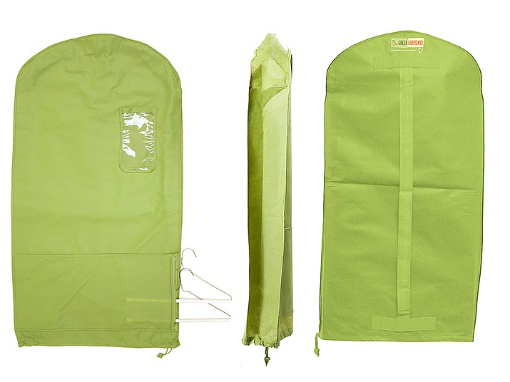 This photo provided by The Green Garmento shows one of the company's Green Garmento bags; an eco-friendly 4-in-1 reusable garment/duffel/laundry bag that can help you green your dry-cleaning routine and eliminate plastic. (The Green Garmento via AP)