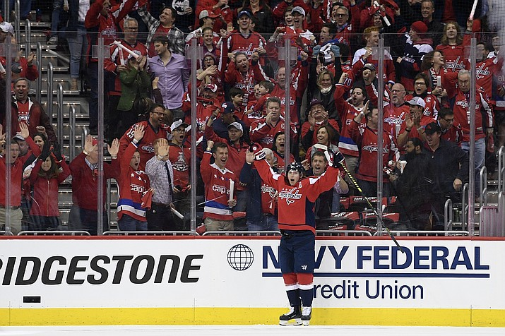 Washington Capitals center Nicklas Backstrom (19), of Sweden, celebrates his goal against the Carolina Hurricanes during the first period of Game 1 Thursday, April 11, 2019, in Washington. (Nick Wass/AP)