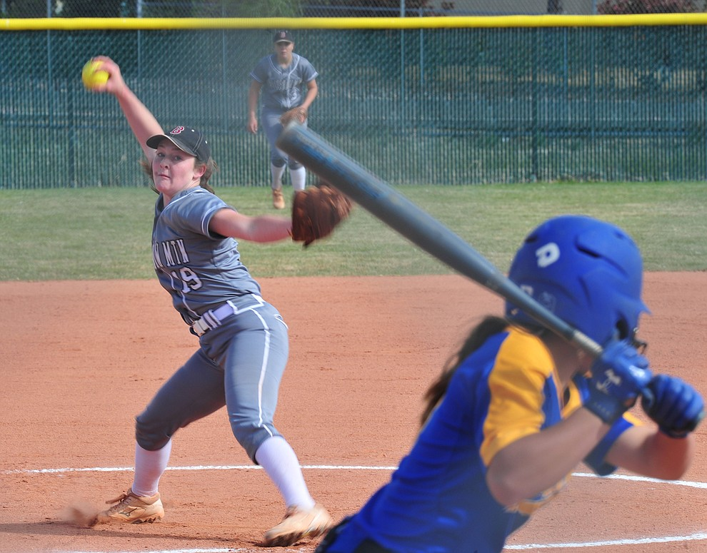 Bradshaw Mountain's Caitlyn Neal delivers a pitch as the Bears host the Prescott Badgers Thursday, April 11 in Prescott Valley.  (Les Stukenberg/Courier)