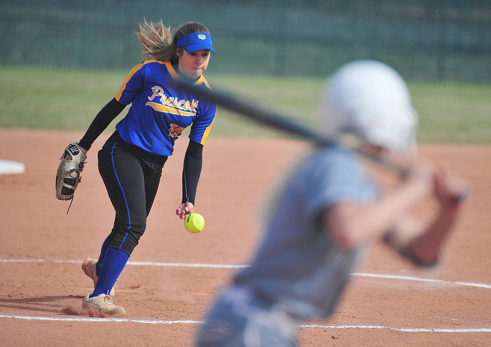 Prescott's Fran Larson delivers a pitch as the Badgers play the Bradshaw Mountain Bears Thursday, April 11 in Prescott Valley.  (Les Stukenberg/Courier)