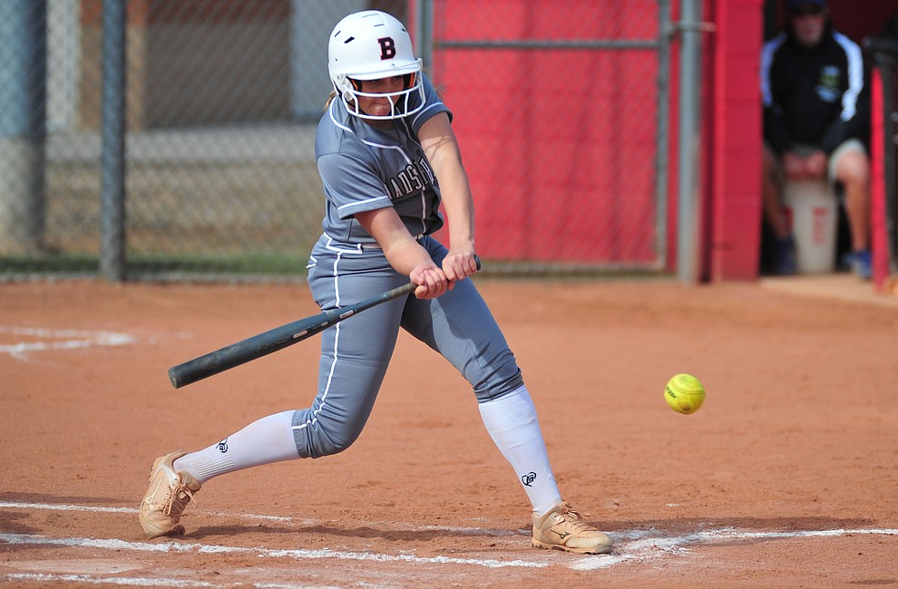 Bradshaw Mountain's Madisen Duryea takes aim at a pitch as the Bears host the Prescott Badgers Thursday, April 11 in Prescott Valley.  (Les Stukenberg/Courier)