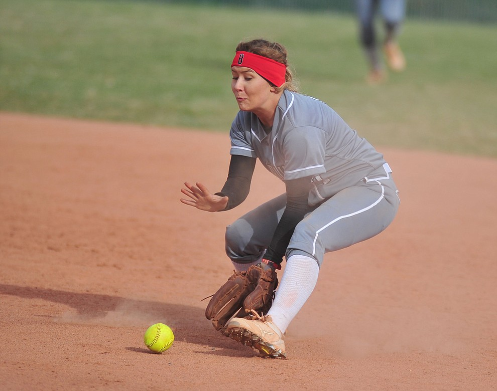 Bradshaw Mountain's Shelby Dilcher makes a play at second as the Bears host the Prescott Badgers Thursday, April 11 in Prescott Valley.  (Les Stukenberg/Courier)