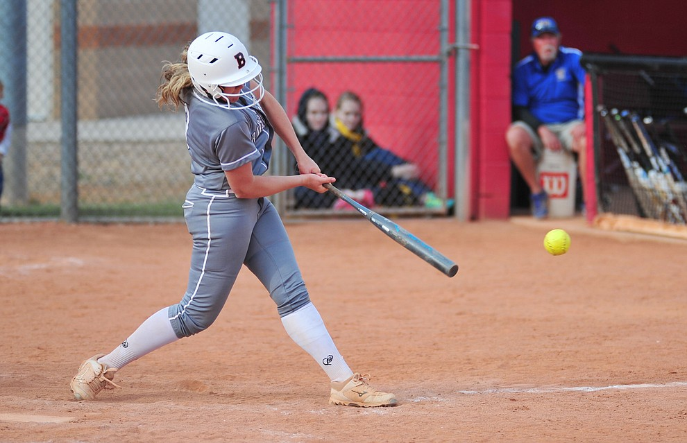 Bradshaw Mountain's Madisen Duryea makes contact as the Bears host the Prescott Badgers Thursday, April 11 in Prescott Valley.  (Les Stukenberg/Courier)