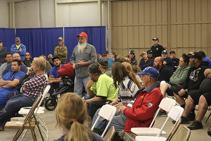 The meeting of the Mohave County Fair Association board of directors had to relocate to a larger building Wednesday, as advocates for Cerbat Motosports and BMX events showed up in force to have their voices heard. (Photo by Travis Rains/Daily Miner)