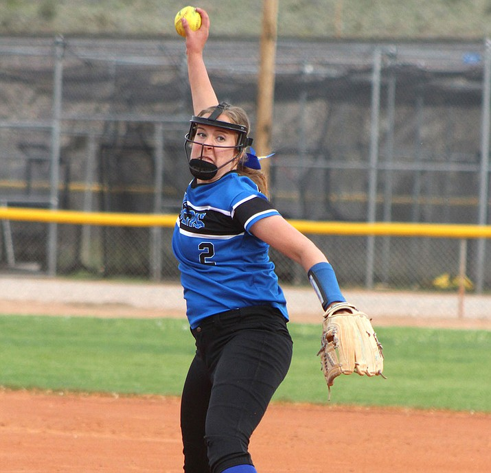 Kingman Academy freshman pitcher Abbie Bean finished with eight strikeouts in the circle and drove in a run at the plate Thursday to help lead the Lady Tigers to a 5-4 win over Chino Valley. (Photo by Beau Bearden/Daily Miner)