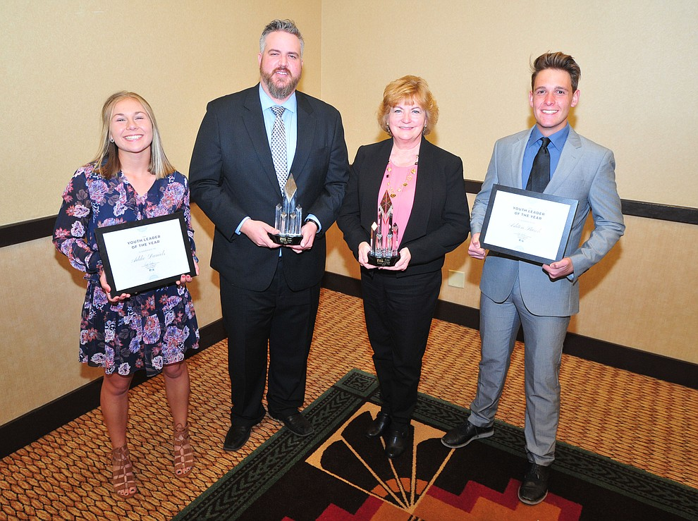 Female Youth of the Year Addie Daniels, Man of the Year Jesse Burke, Woman of the Year Robin Sobotta and Male Youth of the Year Ashton Burch following the Prescott Area Leadership 2019 Community Leaders of the Year banquet and awards ceremony Wednesday, April 10 at the Prescott Resort.  (Les Stukenberg/Courier)