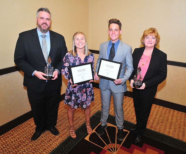 Man of the Year Jesse Burke, Female Youth of the Year Addie Daniels, Male Youth of the Year Ashton Burch and Woman of the Year Robin Sobotta following the Prescott Area Leadership 2019 Community Leaders of the Year banquet and awards ceremony Wednesday, April 10 at the Prescott Resort.  (Les Stukenberg/Courier)