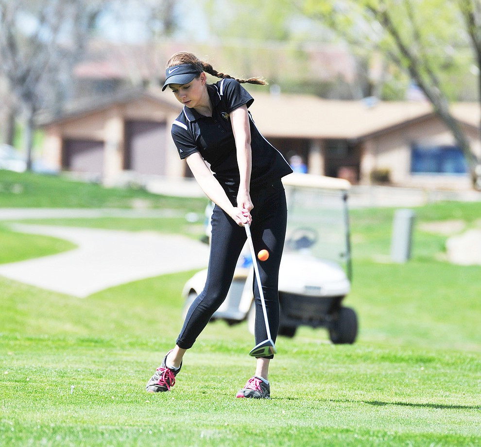 Williams' Brooklynn Maebe tees off as Chino Valley hosted a four-team match Tuesday, April 2 in Prescott. (Les Stukenberg/Courier)