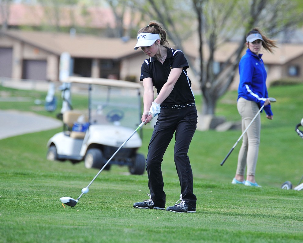 Williams' Madison Olson tees off as Chino Valley hosted a four-team match Tuesday, April 2 in Prescott. (Les Stukenberg/Courier)