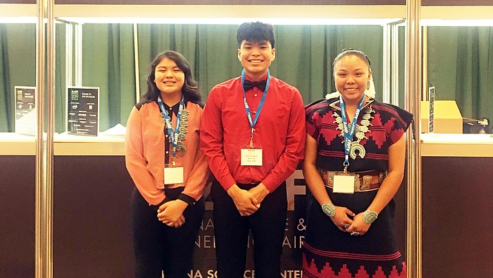 hree Tuba City Junior High School eighth-graders competed in the Arizona Science and Engineering Fair April 4-5, 2019, in Phoenix. From left:  Mikyla Johnson, Maric Bilagody and Jacelyn Tallsalt. (Photo by Melissa Bilagody)