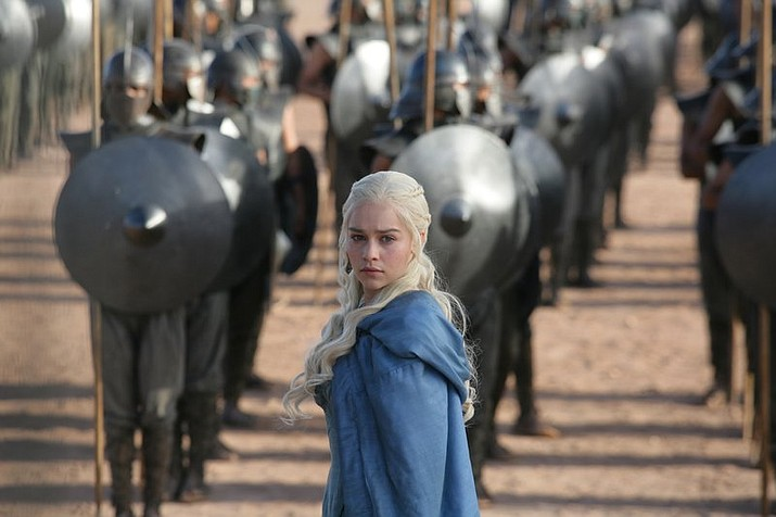 """This image released by HBO shows Emilia Clarke in a scene from """"Game of Thrones."""" The final season premieres on Sunday. (HBO via AP)"""