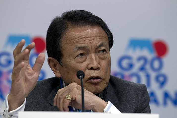Japan's Finance Minister Taro Aso, speaks during a G20 news conference, at the World Bank/IMF Spring Meetings in Washington, Friday, April 12, 2019. (Jose Luis Magana/AP)