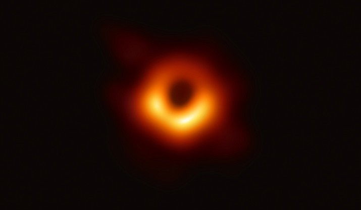 "The first-eve image of a black hole, an object in space that is so densely packed that not even light can escape its gravitational pull. University of Arizona researchers were on the global team of scientists that spent years to see ""the unseeable."" (Event Horizon Telescope/National Science Foundation)"