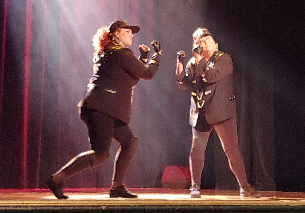Julie Cowling and Sarah Hinson perform during the 2019 Dancing for the Stars matinee performance Saturday, April 13 at the Elks Theatre in Prescott.  (Sue Tone/Courier)
