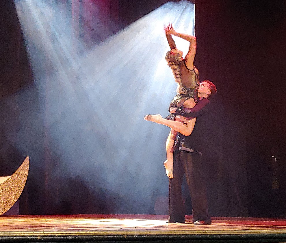 Dr. Dan Beck and Jamie Procknow perform during the 2019 Dancing for the Stars matinee performance Saturday, April 13 at the Elks Theatre in Prescott.  (Sue Tone/Courier)