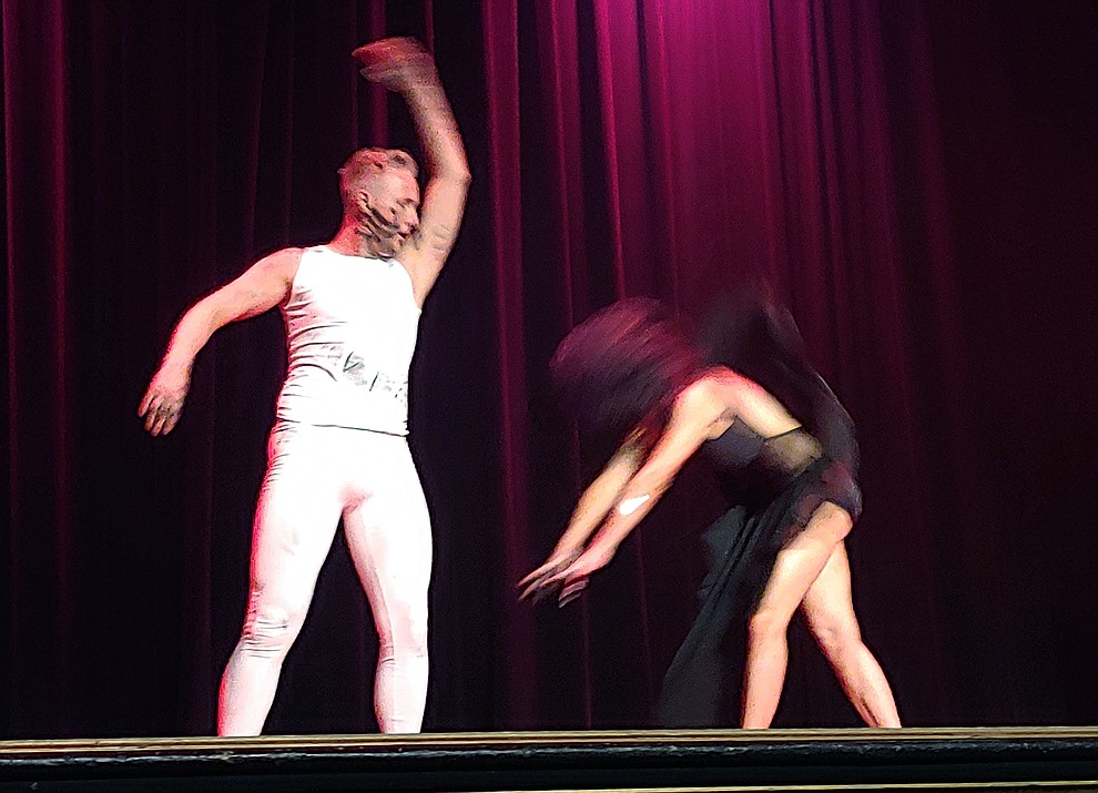 Laura Markey and Colten Davault perform during the 2019 Dancing for the Stars matinee performance Saturday, April 13 at the Elks Theatre in Prescott.  (Sue Tone/Courier)