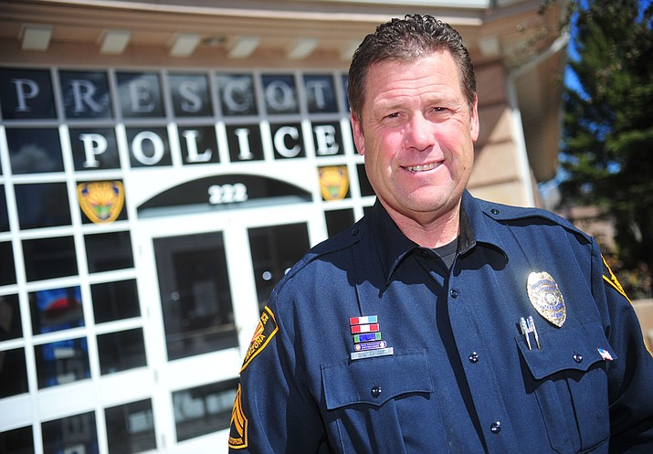 Prescott Police Officer David Fuller will retire May 2 after 30 years with the department.  (Les Stukenberg/Courier)