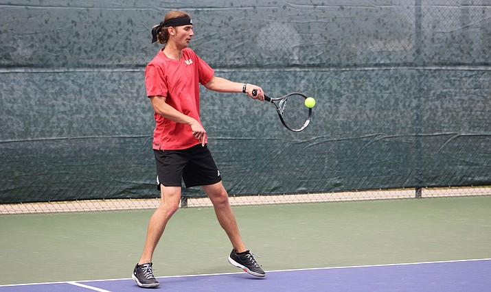 Lee Williams senior Jordon Freeman notched a 6-0, 6-2 win at No. 2 singles and joined Kade Juelfs for a 8-3 win at No. 1 doubles in a 9-0 sweep of Youngker Friday at Centennial Park. (Photo by Beau Bearden/Daily Miner)