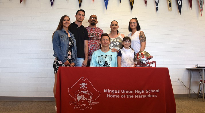 Mingus senior Mardquez Mestas signed with Dakota State football on Thursday afternoon at the MUHS library. VVN/James Kelley