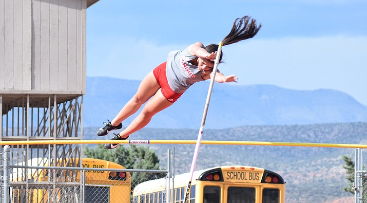 Mingus junior Joelle Santiago   competes in the pole vault on Friday at the Mingus Invitational. Santiago won the event and set a PR at 9'. VVN/James Kelley