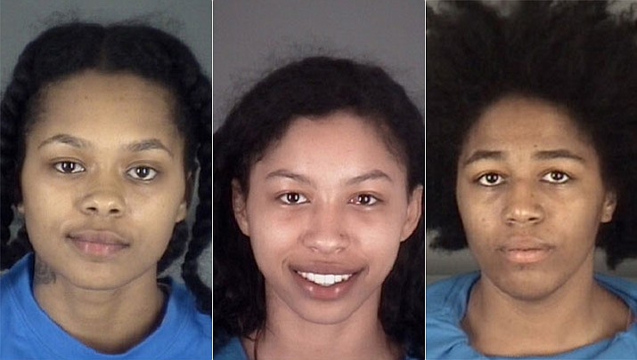 Left to right: Oasis Shakira McLeod, 18, Jeniyah McLeod, 19, and Cecilia Eunique Young, 19. (Pasco County Sheriff's Office)