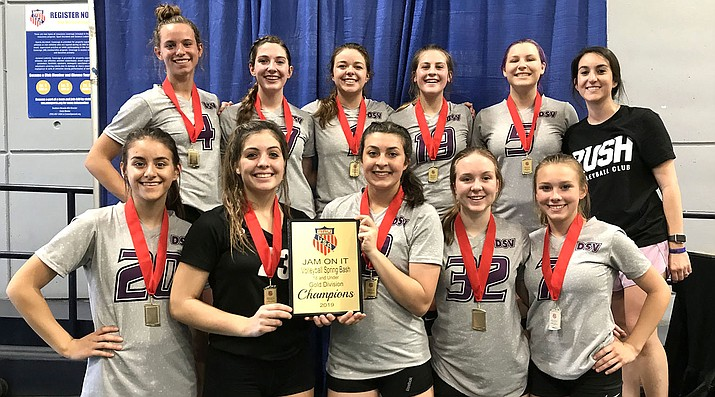 The 18U RUSH volleyball team won a title at the Jam On It Spring Bash in Las Vegas. Front row from left, Madison Lewis, Lorelei Fernandez, Ashley Sahawneh, LaNae Burgess and Mollie King. Back row from left, Lynsey Day, Isabella Anderson, Kalyse Whitehead, Kyla Romeo, Brianna Portillo and Kyra Williams. (Courtesy)