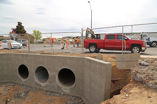 Crews will continue work on the culvert on the west side of Stockton Hill Road this week, installing new pipes and concrete structures. (Photo courtesy City of Kingman)
