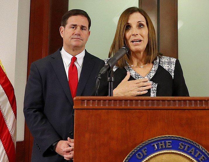 U.S. Rep. Martha McSally, R-Ariz., speaks, during a news conference Tuesday, Dec. 18, 2018, at the Capitol in Phoenix, after Arizona Gov. Doug Ducey announced his decision to replace U.S. Sen. Jon Kyl, R-Ariz. with McSally in the U.S. Senate seat that belonged to Sen. John McCain. (Matt York/AP)