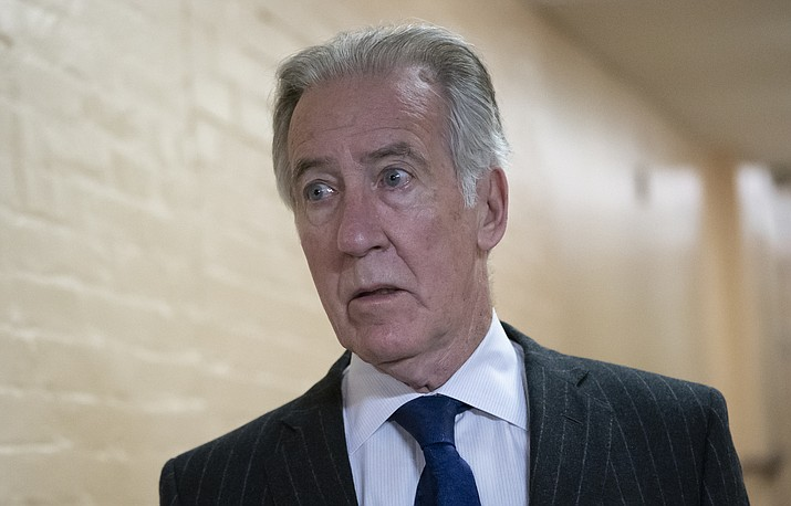 House Ways and Means Committee Chairman Richard Neal, D-Mass., arrives for a Democratic Caucus meeting April 2, 2019, at the Capitol in Washington. Neal, whose committee has jurisdiction over all tax issues, has formally requested President Donald Trump's tax returns from the Internal Revenue Service. (J. Scott Applewhite/AP)