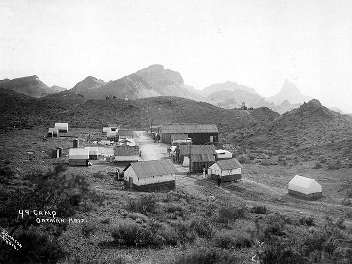 """The red light district, known as the """"49 camp"""" just outside of Oatman. The boundary cone can be seen in the background. (Photo courtesy Mohave Museum of History and Arts)"""