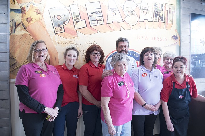 Women from the Kingman Cancer Care Unit and Jersey Mike's teamed up during Jersey Mike's Day of Giving. All proceeds from the Day of Giving go toward the KCCU. (Photo by Vanessa Espinoza/Daily Miner)