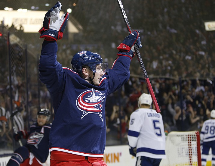 Columbus Blue Jackets' Matt Duchene celebrates his goal against the Tampa Bay Lightning during the second period of Game 3 of an NHL hockey first-round playoff series Sunday, April 14, 2019, in Columbus, Ohio. (Jay LaPrete/AP)