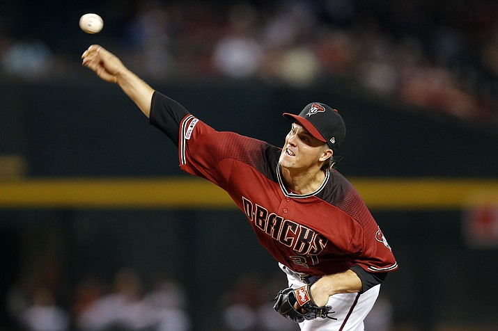 Arizona Diamondbacks pitcher Zack Greinke throws in the first inning during a baseball game against he San Diego Padres, Sunday, April 14, 2019, in Phoenix. (Rick Scuteri/AP)