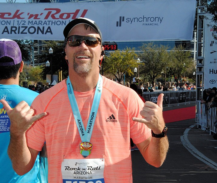 Matt Koehler, 50, of Prescott, gives a thumbs up after racing the 2018 Rock n' Roll Marathon in Phoenix. Koehler qualified for the 2019 Boston Marathon after his time in Phoenix. The Boston Marathon is scheduled for Monday, April 15, 2019. Koehler's age group is scheduled to begin at 10:25 a.m. Eastern (7:25 a.m. Arizona) in Boston. Watch The Daily Courier and dCourier.com for an update. (Courtesy)
