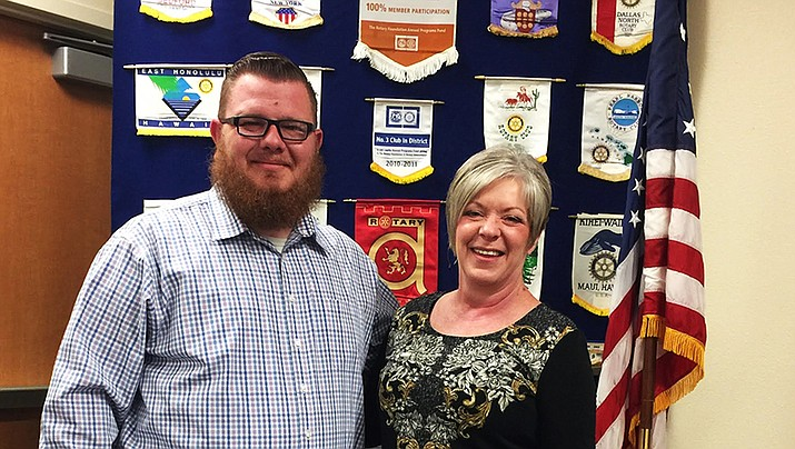 Jason Millin, left, stands with Kingman Route 66 Rotary Club President Becky Fawson. Millin gave a presentation about Arizona at Work to the club. (Photo submitted by Jo An Oxsen/ Kingman Route 66 Rotary Club)