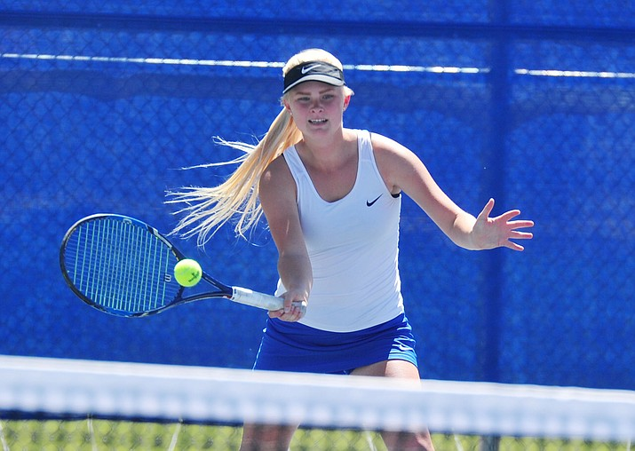 Prescott's Sierra McDonald hits a return as the Badgers take on Lake Havasu April 8, 2019. The Badgers finished the regular season with a nine-match winning streak after defeating rival Mingus 8-1 on Monday, April 15, in Cottonwood. (Les Stukenberg/Courier, file)