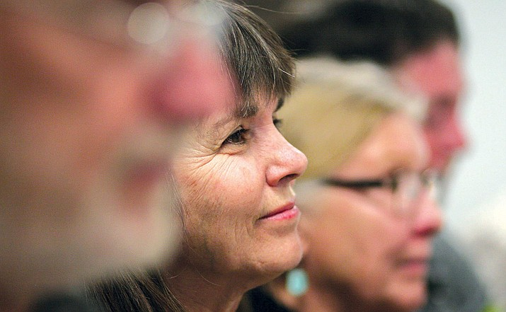 Middle Verde resident Diane Scantlebury, pictured at the March 20 Camp Verde Town Council meeting, will tell council on Wednesday why the Verde Disconnect group opposes the county's plan for a road that would connect SR 260 to Cornville Road. VVN/Bill Helm