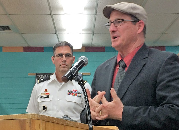 Bradshaw Mountain High School Principal Kort Miner, right, explains the proposed Army JROTC program to the Humboldt Unified School District Governing Board at the April 9 board meeting, as Army Lt. Col. David Elder looks on. The board unanimously approved the program to being in August. (Sue Tone/Tribune)