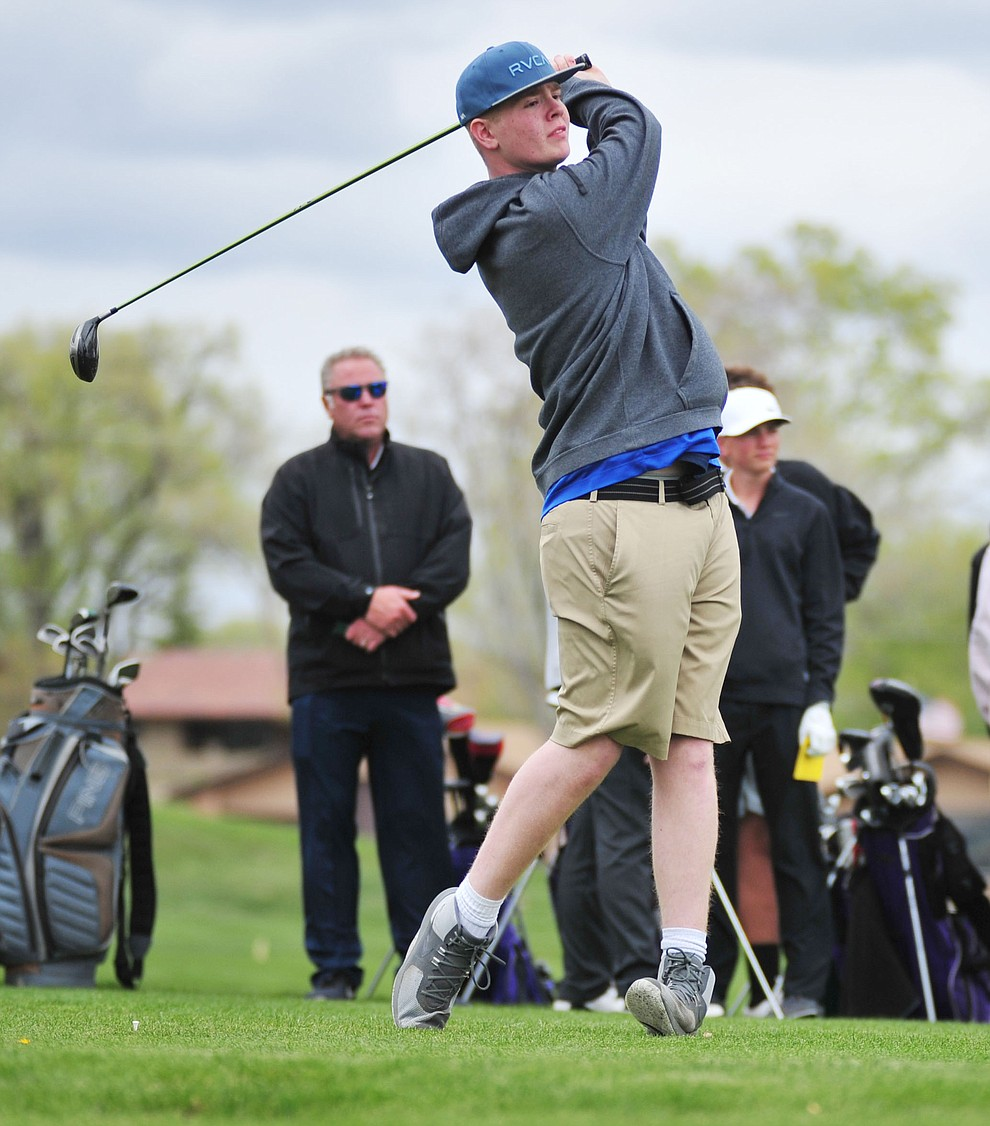 Camp Verde's Paul Elmer tees off as Chino Valley hosted a three-way match Tuesday, April 16 at Antelope Hills Golf Course in Prescott.  (Les Stukenberg/Courier)