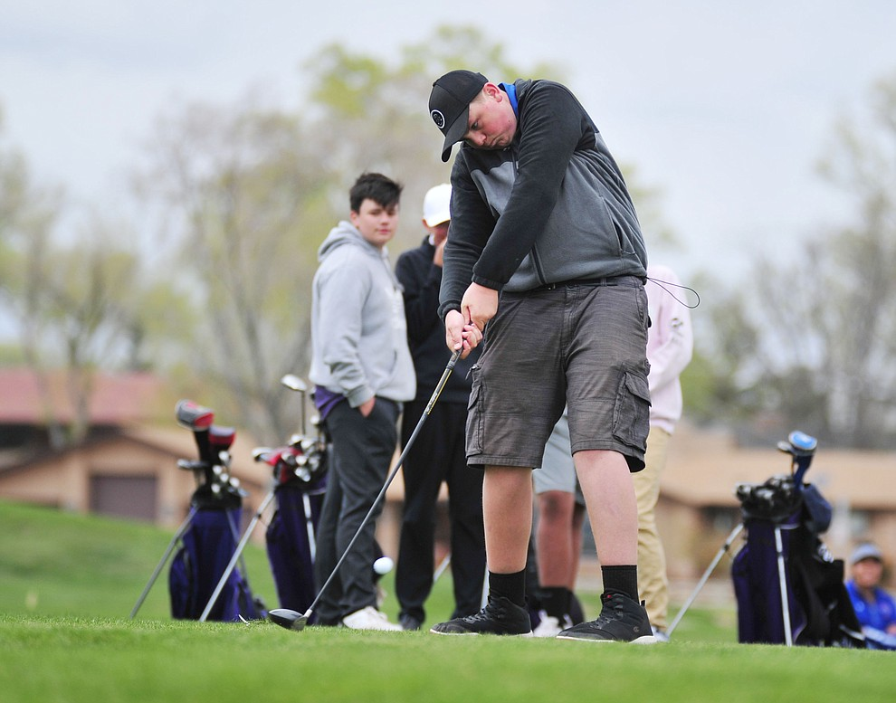 Camp Verde's Damon Conway tees off as Chino Valley hosted a three-way match Tuesday, April 16 at Antelope Hills Golf Course in Prescott.  (Les Stukenberg/Courier)